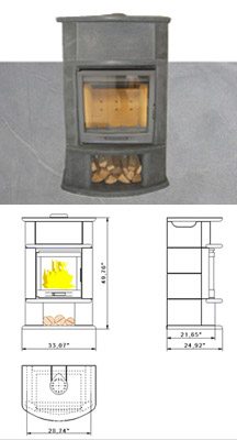Palisadium Soapstone Wood Stove on SALE for $3,995